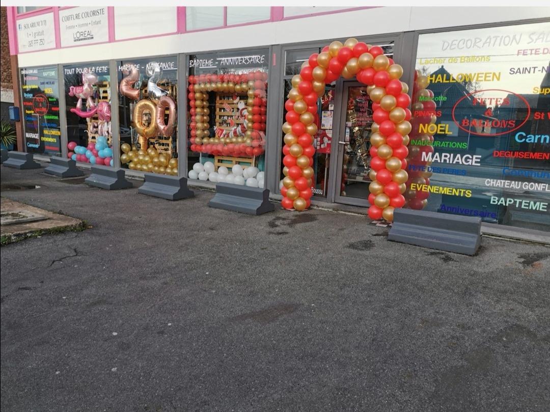 Arche Balons Montage Rouge Or Doré Commerce Boutique Magasin