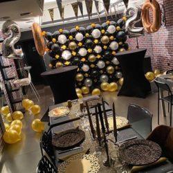 Arche Ballons Noir Doré Or anniversaire Elegant